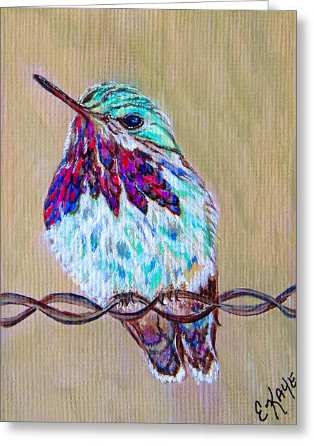 Greeting Card featuring the painting Calliope On The Fence by Ella Kaye Dickey