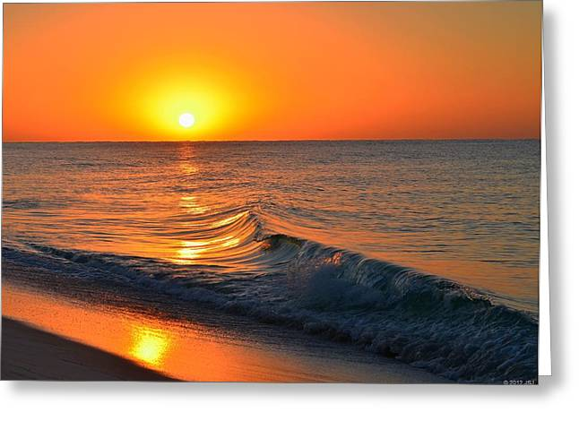 Calm And Clear Sunrise On Navarre Beach With Small Perfect Wave Greeting Card by Jeff at JSJ Photography