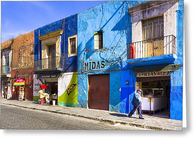 Calm And Colorful Street In Puebla Greeting Card