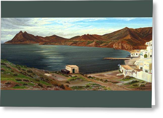 Greeting Card featuring the painting Calm Bay by Angeles M Pomata