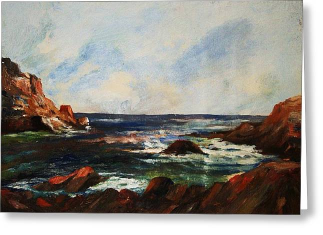Greeting Card featuring the painting Calm Cove by Al Brown