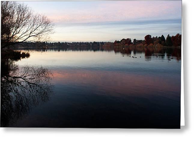 Calm Greenlake Evening Greeting Card by Mike Reid