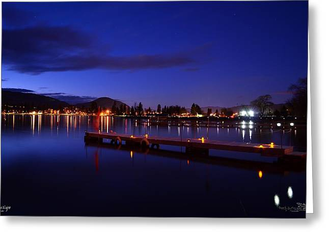 Calm Night - Skaha Lake 02-21-2014 Greeting Card