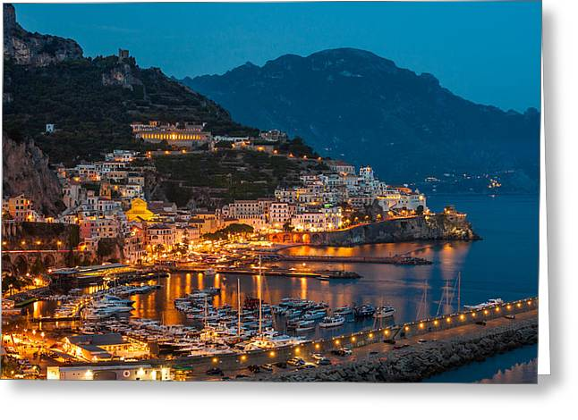 Calm Night Over Amalfi Coast Greeting Card by Gurgen Bakhshetsyan