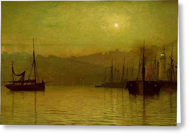 Calm Waters, Scarborough, 1880 Greeting Card by John Atkinson Grimshaw