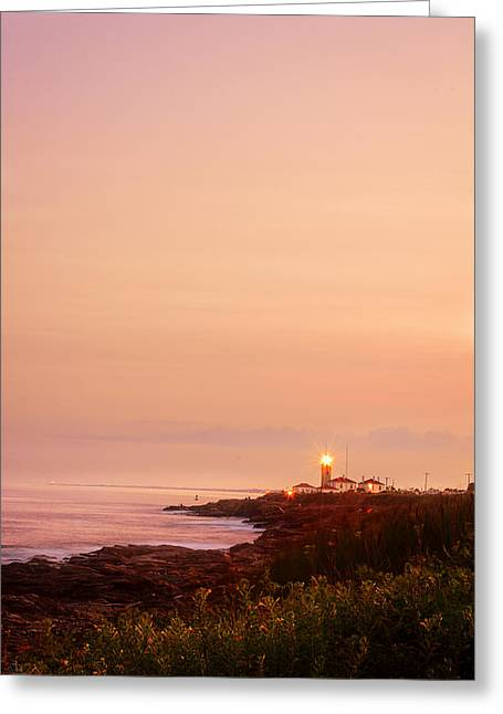 Calming Visual- Beavertail Lighthouse Art Greeting Card by Lourry Legarde