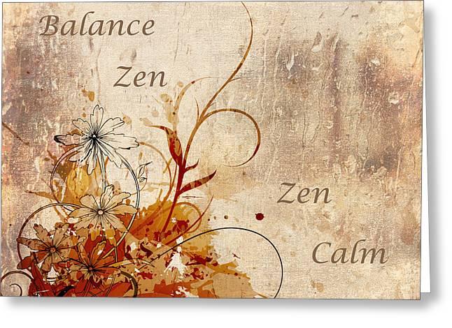 Calming Zen Greeting Card by Georgiana Romanovna