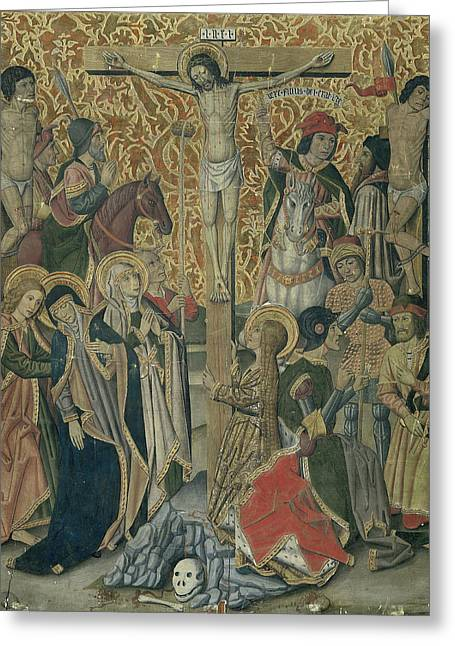 Calvary, Attributed To Workshop Of Pablo Vergós Greeting Card