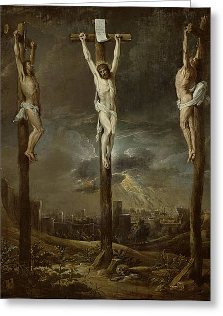 Calvary Oil On Card Greeting Card