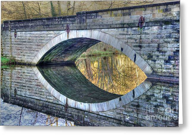 Calver Bridge Reflection Greeting Card