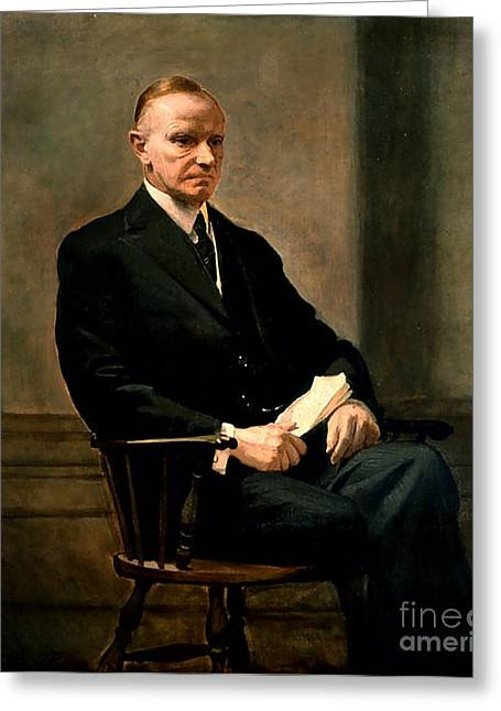 Calvin Coolidge Greeting Card by Charles Syndey