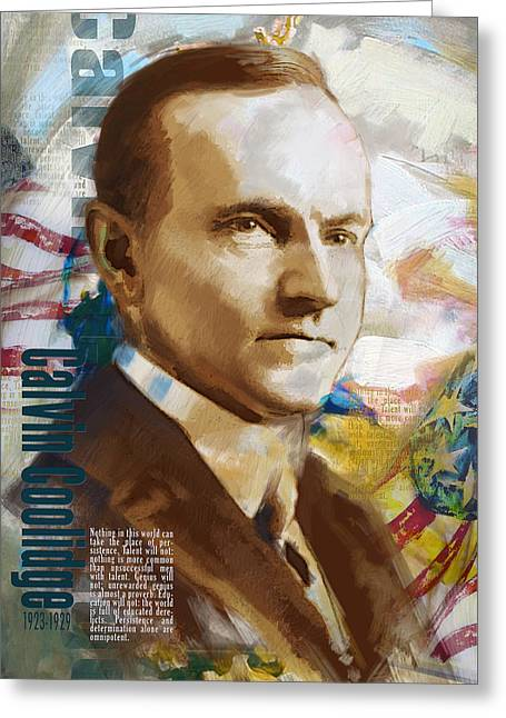 Calvin Coolidge Greeting Card by Corporate Art Task Force