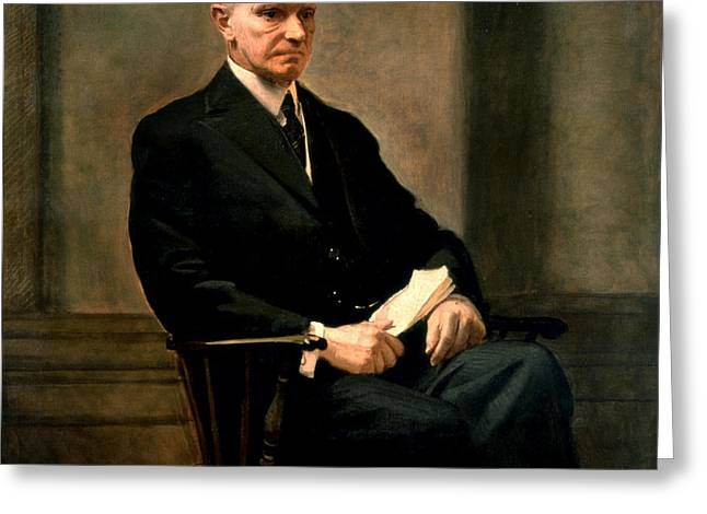 Calvin Coolidge Presidential Portrait Greeting Card by MotionAge Designs