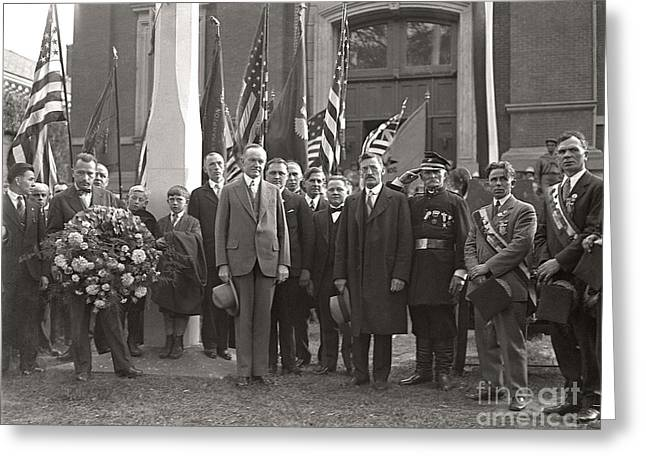 Greeting Card featuring the photograph Calvin Coolidge Springfield Ma 1925 by Martin Konopacki Restoration