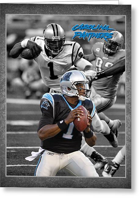 Cam Newton Panthers Greeting Card by Joe Hamilton