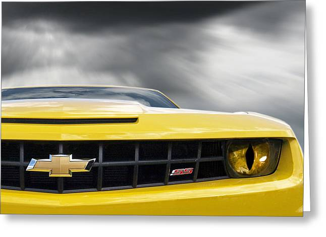 Camaro Ss Evil Eye Greeting Card by Gill Billington
