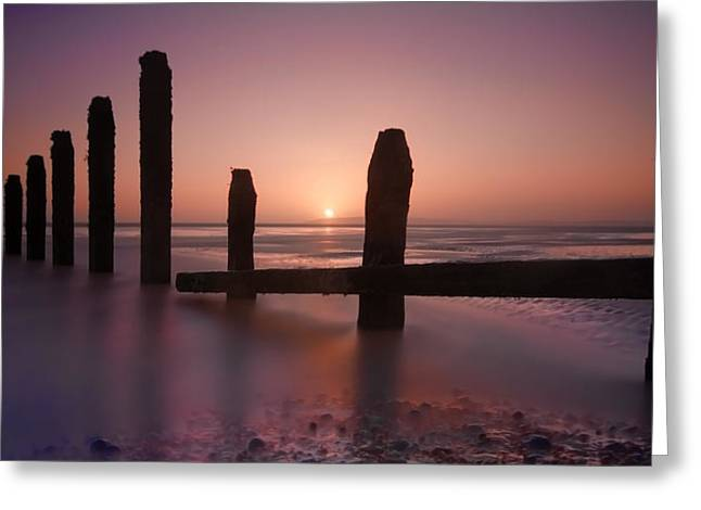 Camber Sands Sunset Greeting Card by Mark Leader