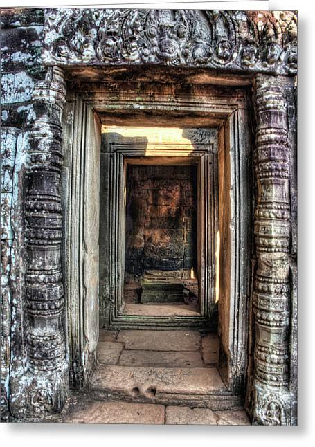Cambodia, Angkor Watt, Siem Reap, Faces Greeting Card