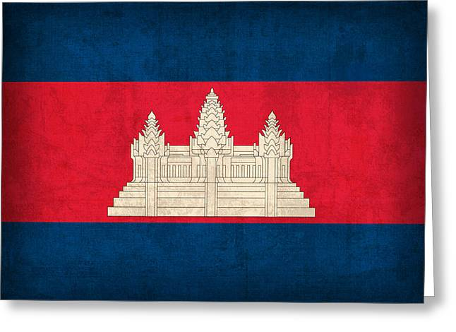 Cambodia Flag Vintage Distressed Finish Greeting Card by Design Turnpike