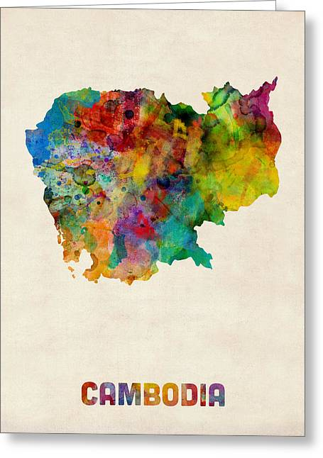 Cambodia Watercolor Map Greeting Card by Michael Tompsett