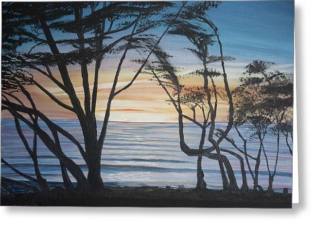 Cambria Cypress Trees At Sunset Greeting Card