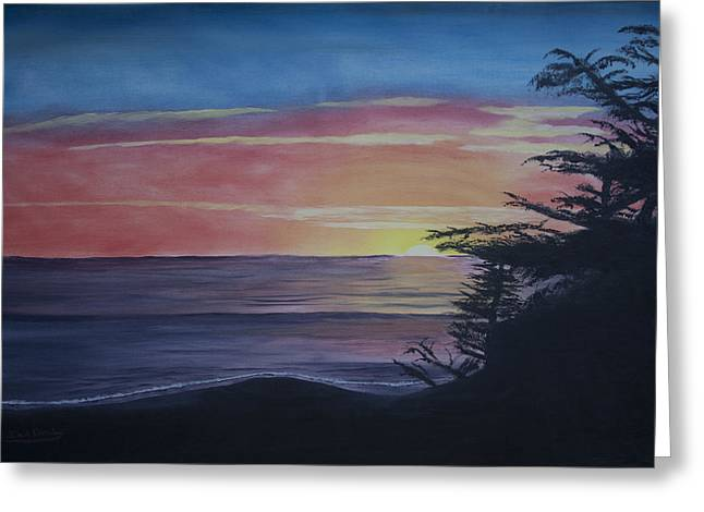Cambria Setting Sun Greeting Card by Ian Donley