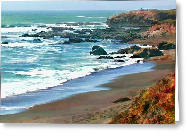 Cambria Shoreline In The Fall Greeting Card by Elaine Plesser