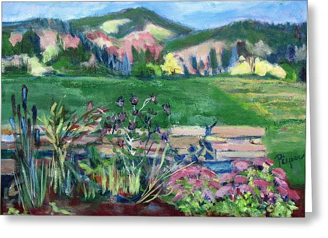 Greeting Card featuring the painting Cambridge Countryside by Betty Pieper