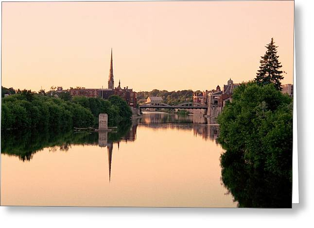 Cambridge Golden Glow Greeting Card by Michael Swanson
