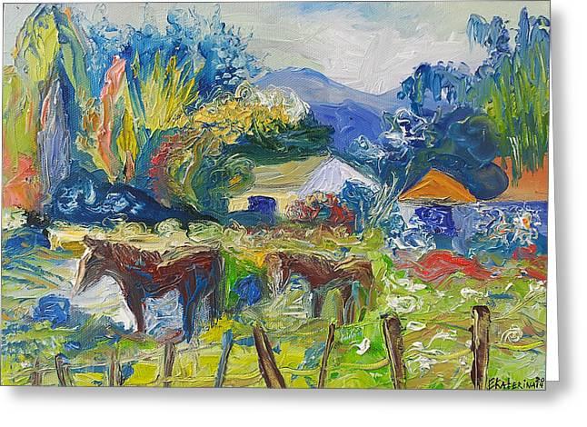 Cambridge Horses Original Artwork By Ekaterina Chernova Greeting Card