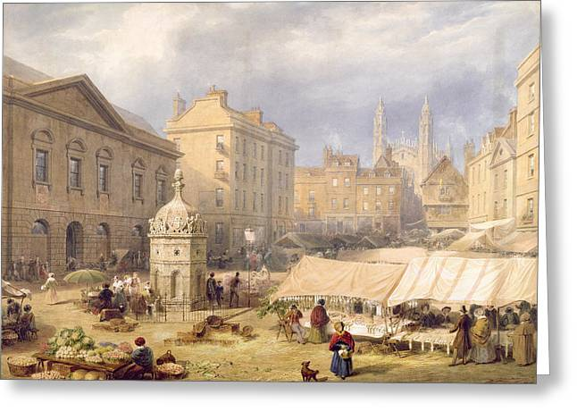 Cambridge Market Place, 1841 Greeting Card by Frederick Mackenzie