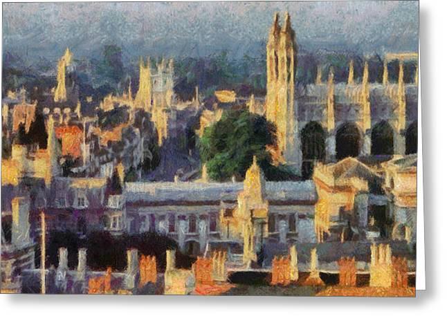 Cambridge Panorama Greeting Card by Georgi Dimitrov
