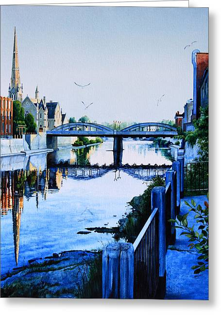 Cambridge Summer Morning Greeting Card by Hanne Lore Koehler