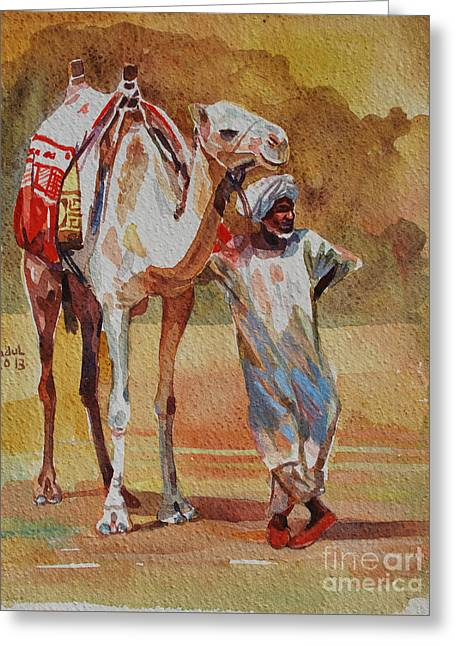 Camel And The Desert Greeting Card by Mohamed Fadul