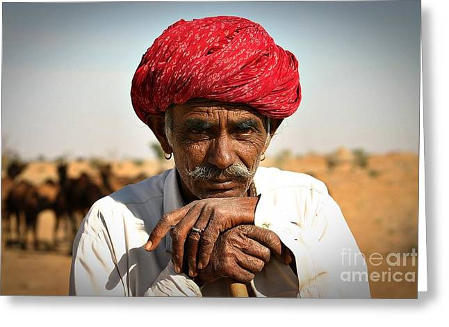 Camel Herder India Greeting Card by Henry Kowalski