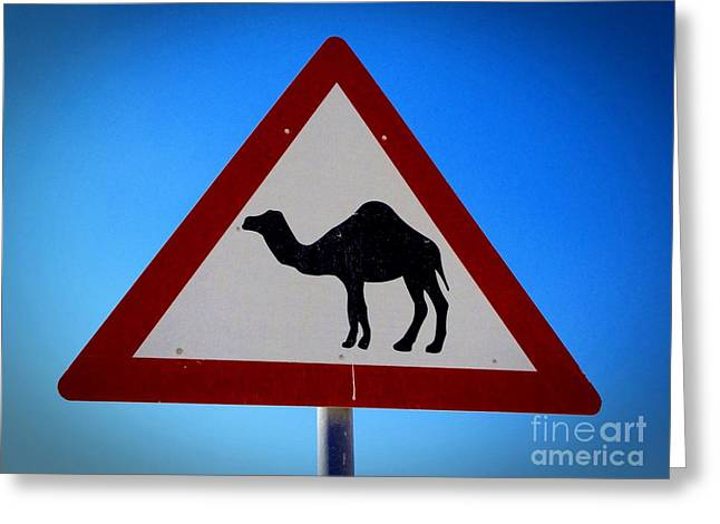 Greeting Card featuring the photograph Camel Warning Road Sign by Henry Kowalski