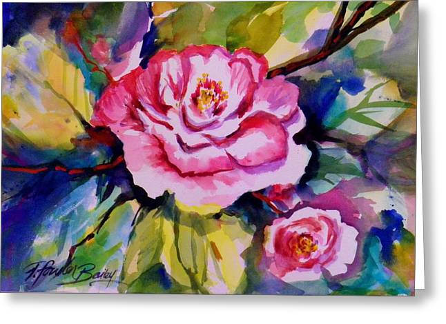 Camellia Prisms Original Sold Prints Available Greeting Card by Therese Fowler-Bailey