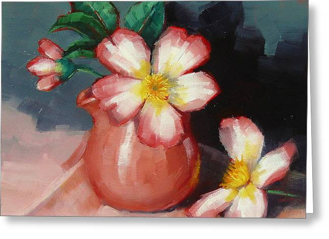 Greeting Card featuring the painting Camellias And Chinese Tea Jug by Margaret Stockdale