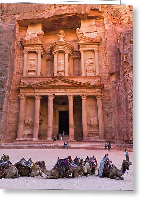 Camels At The Facade Of Treasury (al Greeting Card by Keren Su