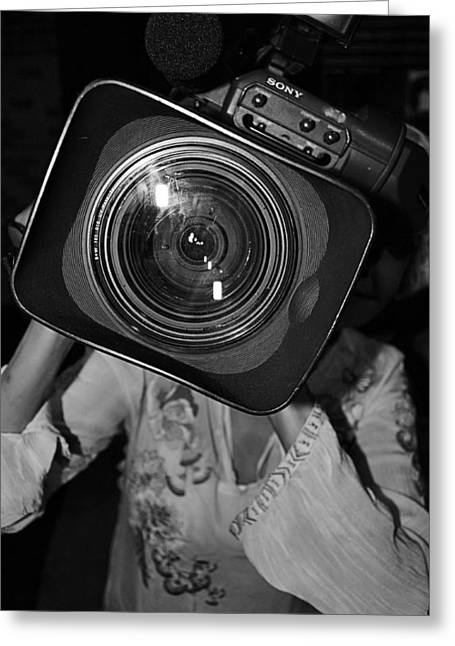 Camera Girl Greeting Card by Tommi Trudeau