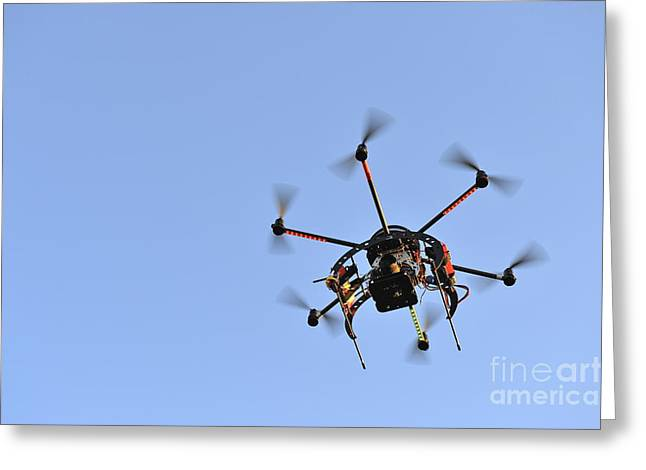 Camera On Unmanned Aerial Vehicle Greeting Card by Sami Sarkis