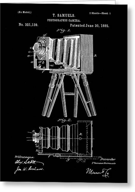 Camera Patent 1885 - Black Greeting Card by Stephen Younts