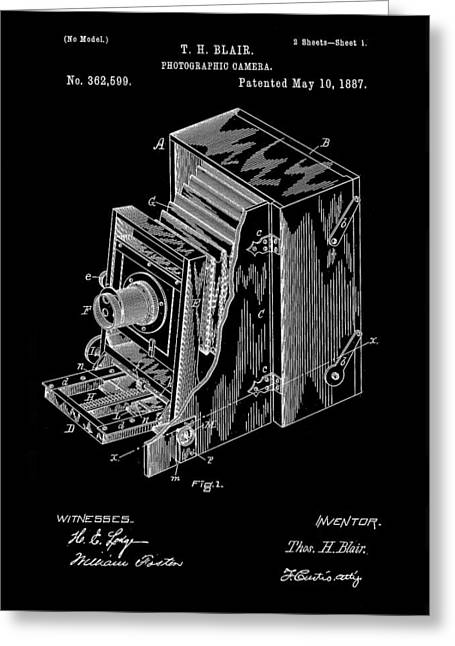 Camera Patent 1887 - Black Greeting Card by Stephen Younts