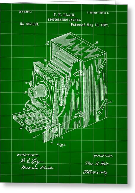 Camera Patent 1887 - Green Greeting Card by Stephen Younts