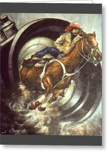 Camera Rodeo - Western Art Greeting Card by Art America Gallery Peter Potter