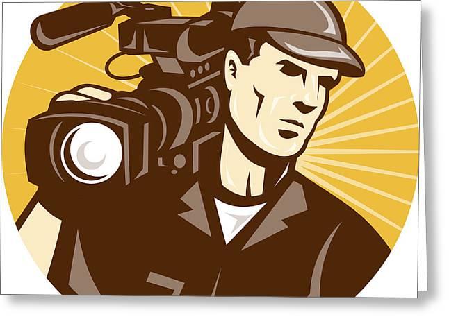 Cameraman Film Crew Pro Video Movie Camera Greeting Card