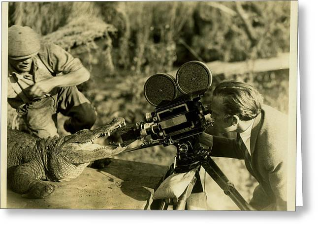 Cameraman With Alligator Greeting Card by Vintage