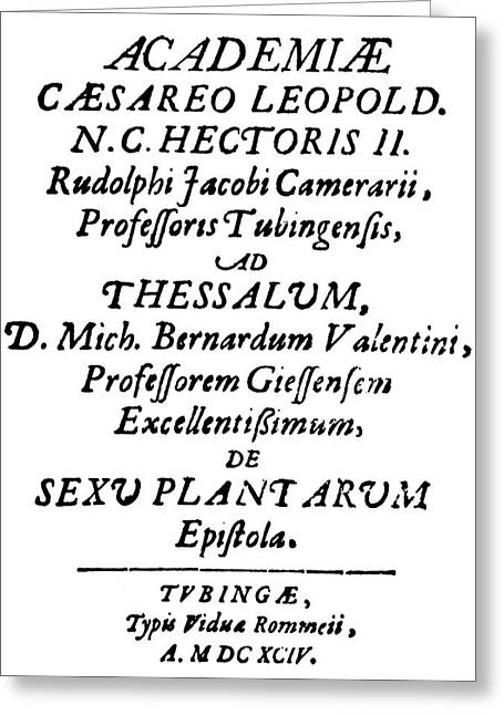 Camerarius Title Page, 1694 Greeting Card