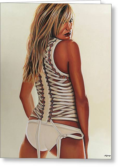 Cameron Diaz Painting Greeting Card by Paul Meijering