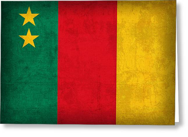 Cameroon Flag Vintage Distressed Finish Greeting Card by Design Turnpike